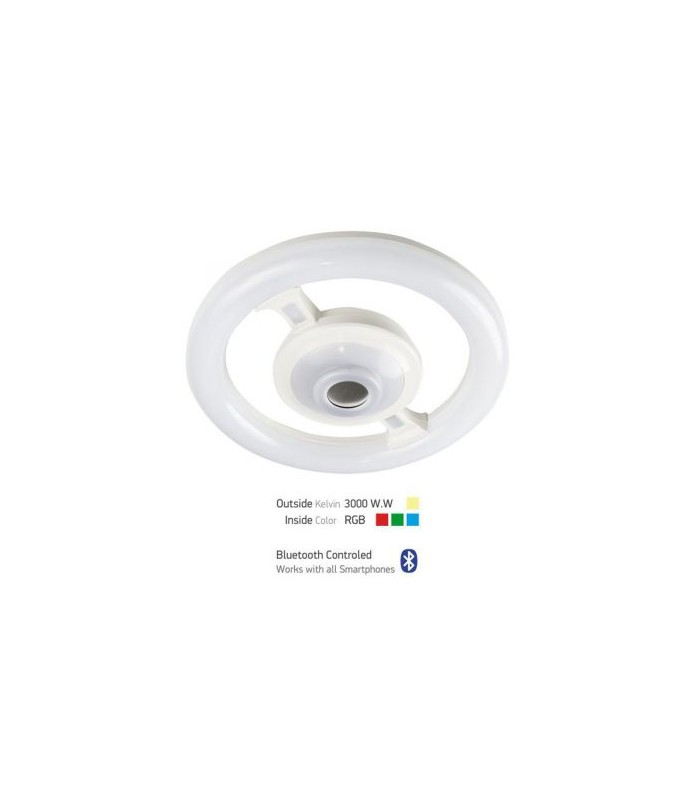 ΛΑΜΠΑ LED E27 22W 3 LIGHT SCHEMES INSIDE COLOR RGB(4,5W) BLUETOOTH CONTROLED  LED BULB  3000K 230V ΘΕΡΜΟ ΛΕΥΚΟ
